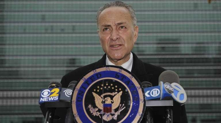 U.S. Sen. Charles Schumer holds a news conference