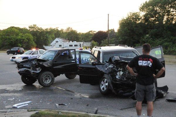 A three-car crash at Locust Avenue and Montauk