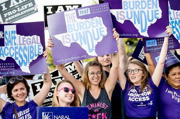 Pro-choice activists wait for rulings in front of
