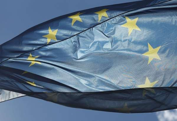 The flag of the European Union flies at