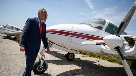 U.S. Sen. Chuck Schumer discusses aircraft safety Monday,
