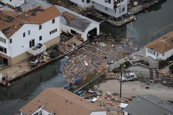 Aftermath of Hurricane Sandy near Atlantic Street and