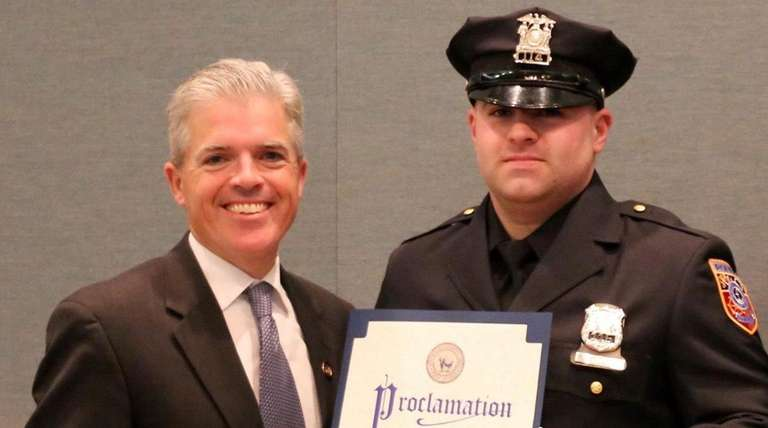 Police Officer Garrett Lake was honored by Suffolk
