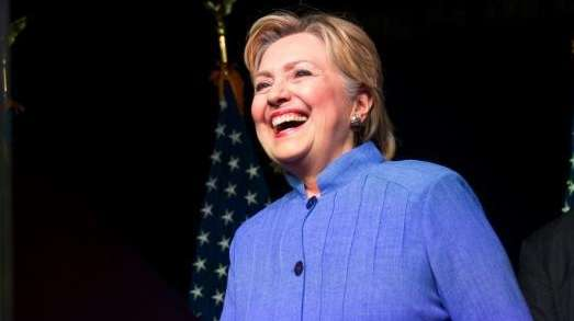 Democratic presidential candidate Hillary Clinton, followed by the