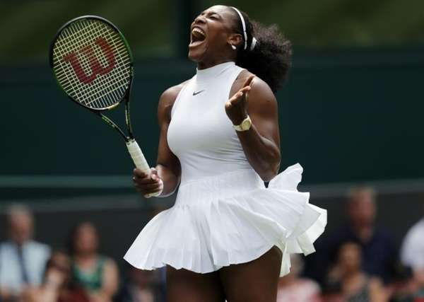 Serena Williams of the U.S celebrates a point