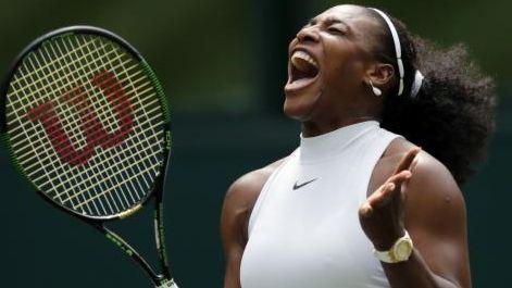 Serena Williams of the U.S celebrates a point