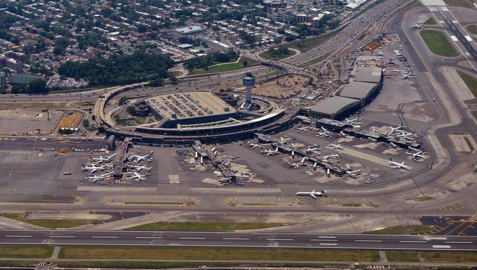 This aerial view shows LaGuardia Airport in Queens