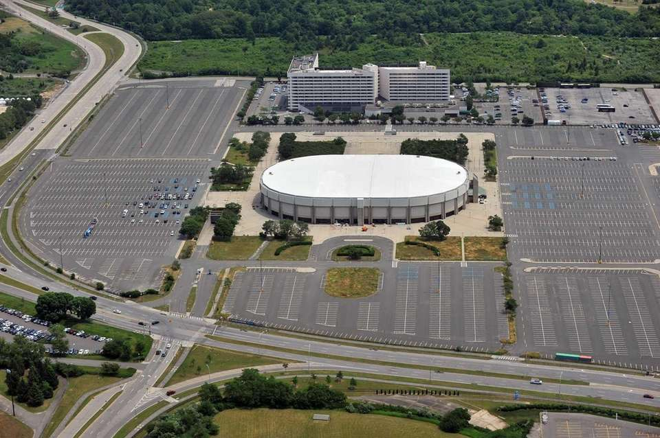 This aerial view shows the Nassau Veterans Memorial