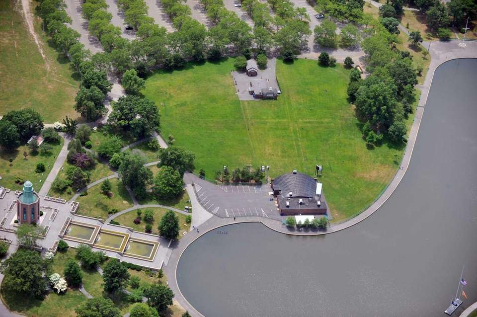 This aerial view shows Eisenhower Park, formerly known