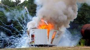 Suffolk County police demonstrate the dangers of fireworks,