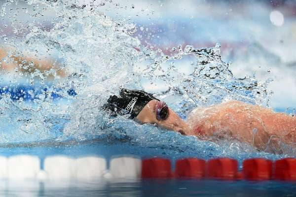 Missy Franklin competes in a semifinal heat of