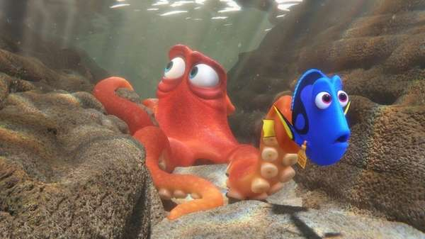 Hank the octopus and Dory the fish in