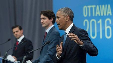President Barack Obama at a news conference at