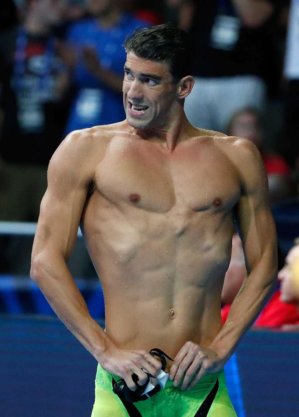 Michael Phelps of the United States celebrates after