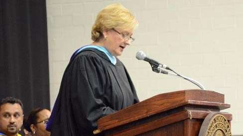 Retiring Sewanhaka High School principal Debra Lidowsky speaks