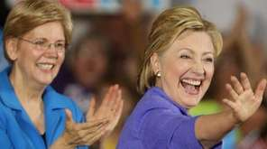 Presumptive Democratic presidential nominee Hillary Clinton greets the