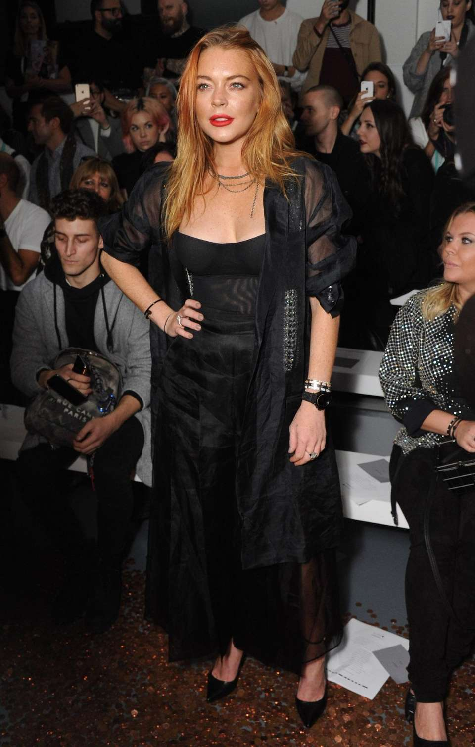 5ffe34080aa85 Lindsay Lohan attends the Gareth Pugh show on
