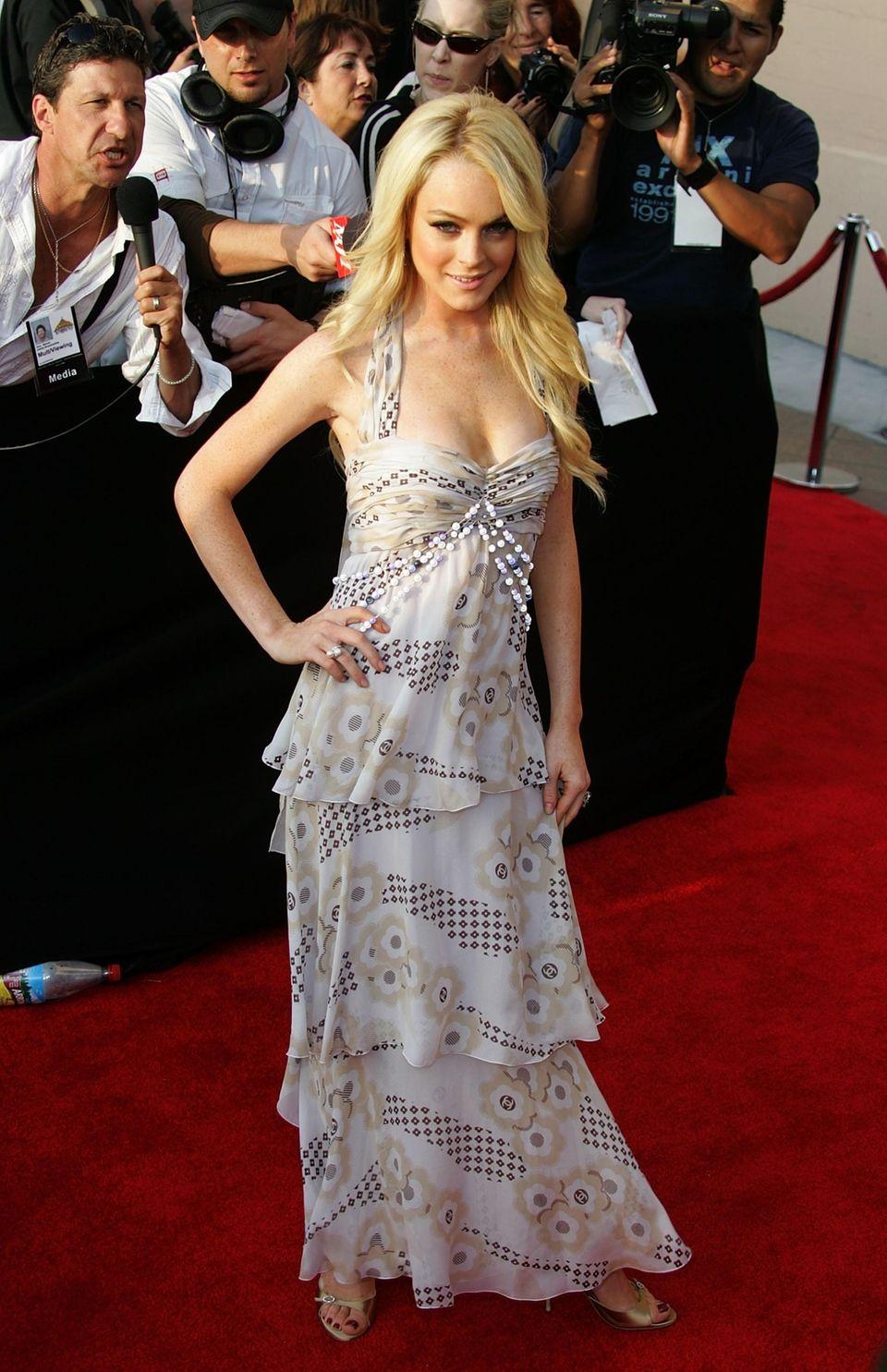 Lindsay Lohan arrives for the MTV Movie Awards