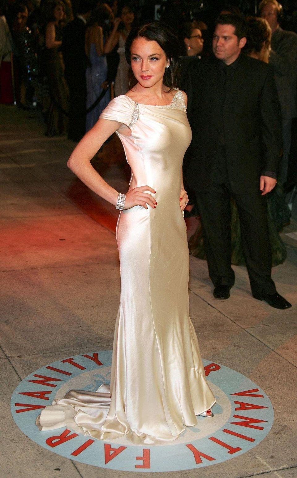 Lindsay Lohan arrives for the Vanity Fair Oscar