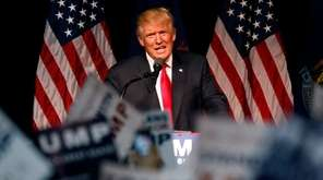Republican presidential candidate Donald Trump speaks about trade