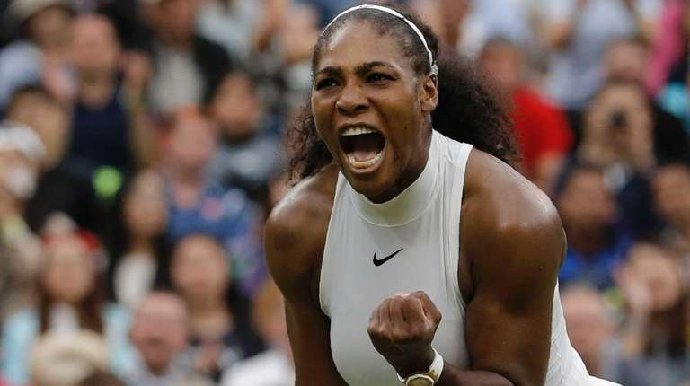 US player Serena Williams celebrates beating US player