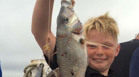 Nick Terry, 11, of Medford, caught 30 porgies