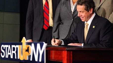 Gov. Andrew M. Cuomo defended his Start-Up NY