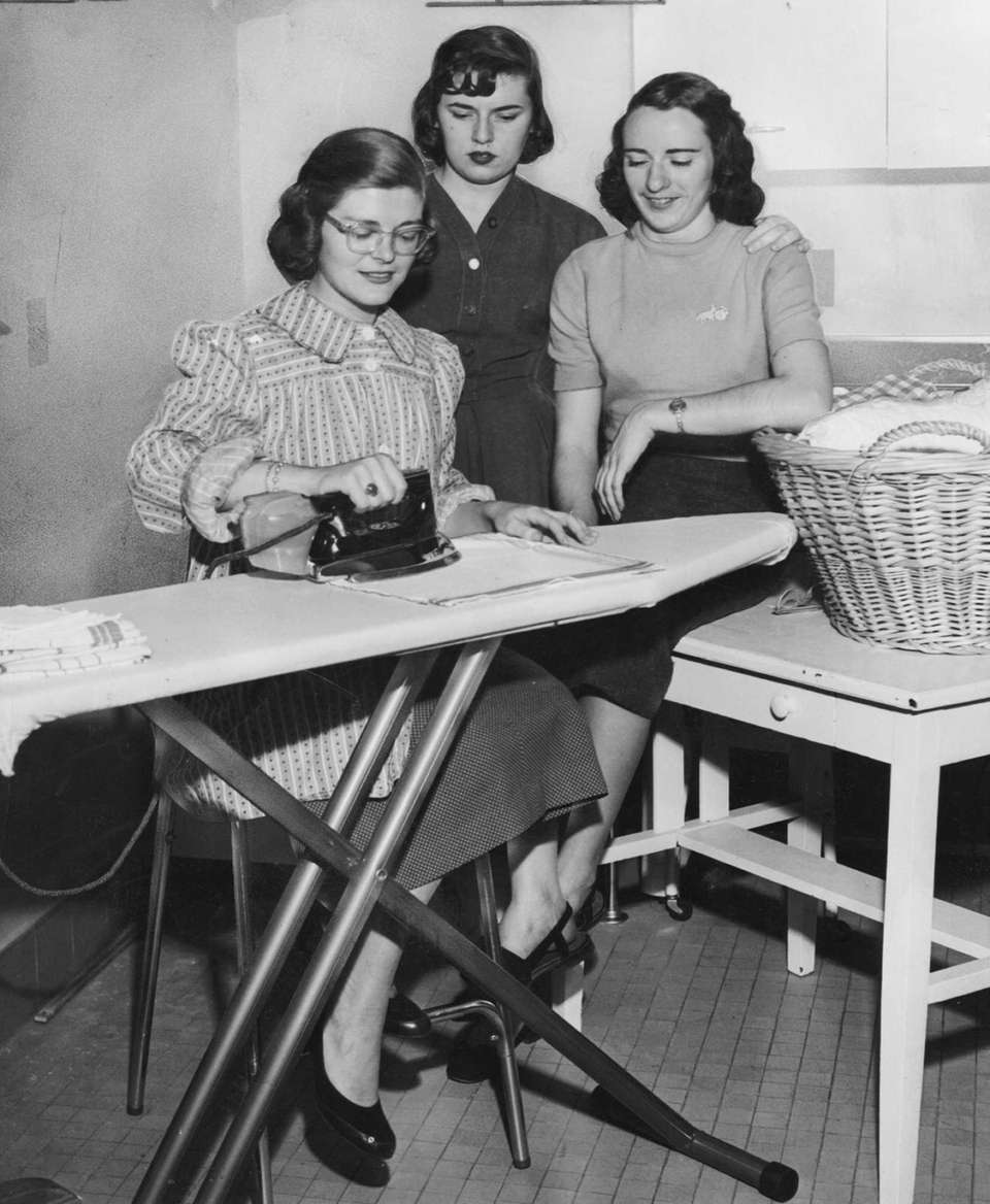 Jean Martin of Garden City practices her ironing