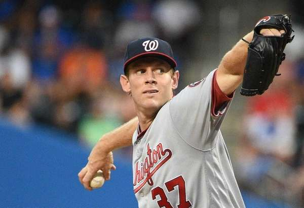 Washington Nationals starting pitcher Stephen Strasburg delivers a