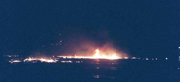 Flames from TWA Flight 800 that exploded over