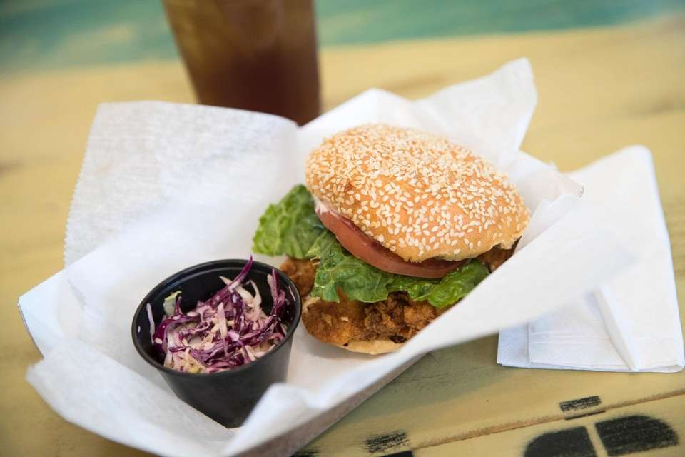 Fried fish sandwich at The North Fork Shack,
