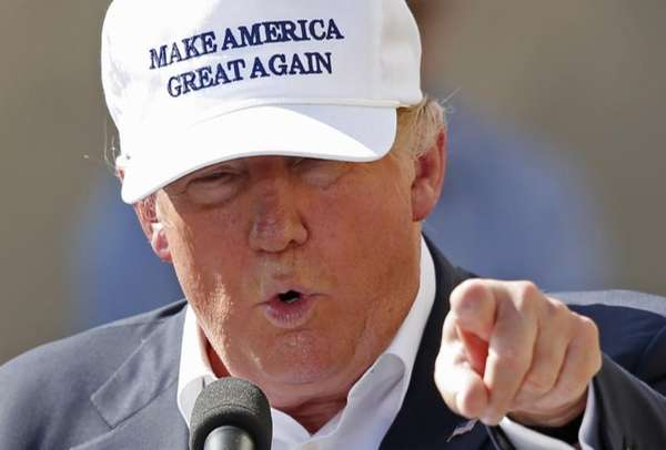 Republican presidential candidate Donald Trump speaks at the