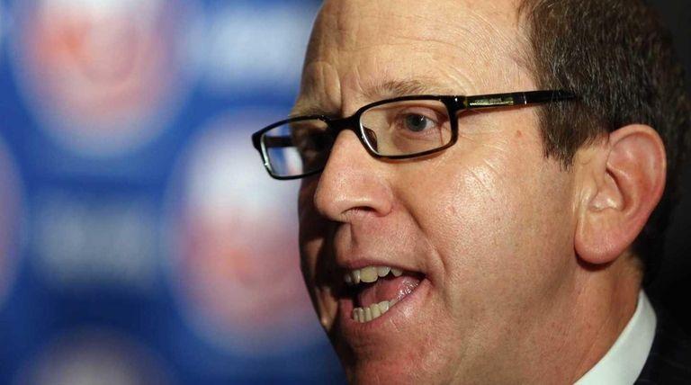 New York Islanders partner Jon Ledecky speaks with