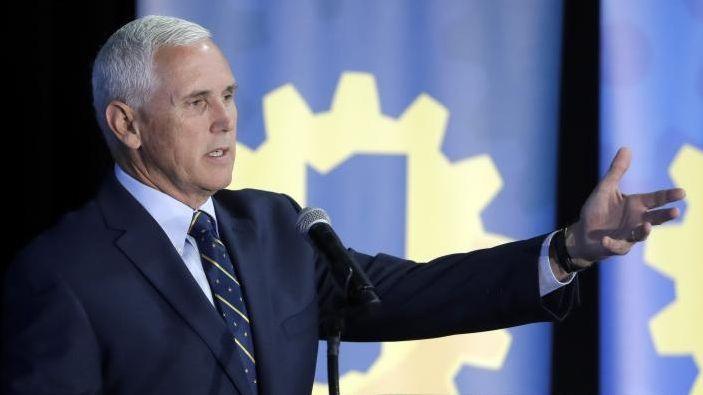 Indiana Gov. Mike Pence speaks on Thursday, July