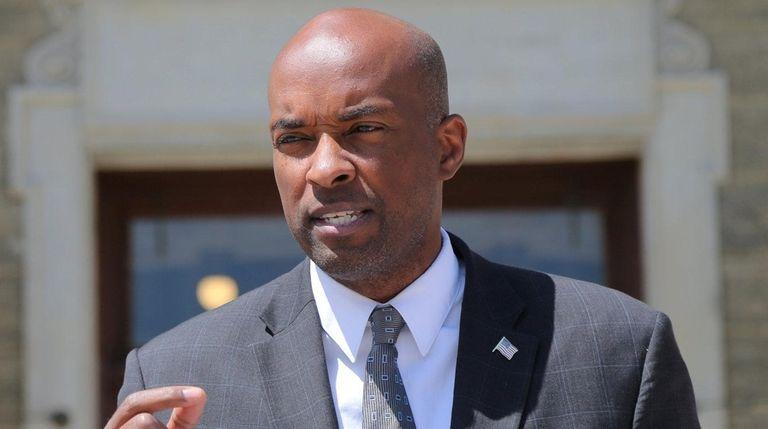 Nassau County Democratic Minority Leader Kevan Abrahams speaks