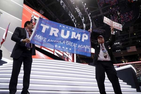 Donald Trump supporters cheer during first day of