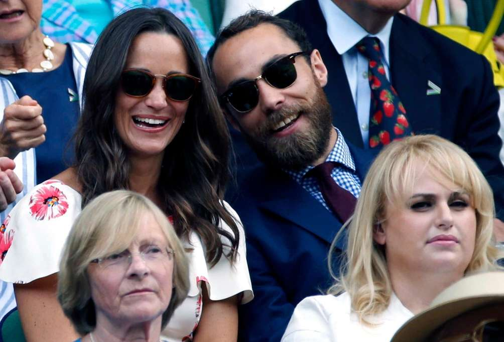From left, Pippa Middleton, James Middleton, and actress