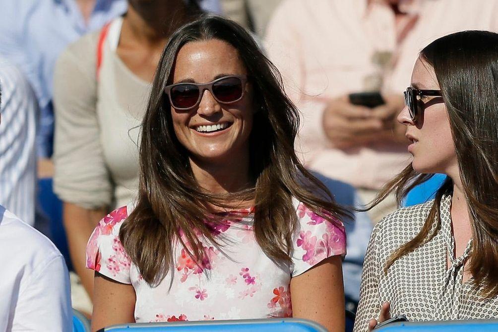 Pippa Middleton watches the quarterfinal tennis match between