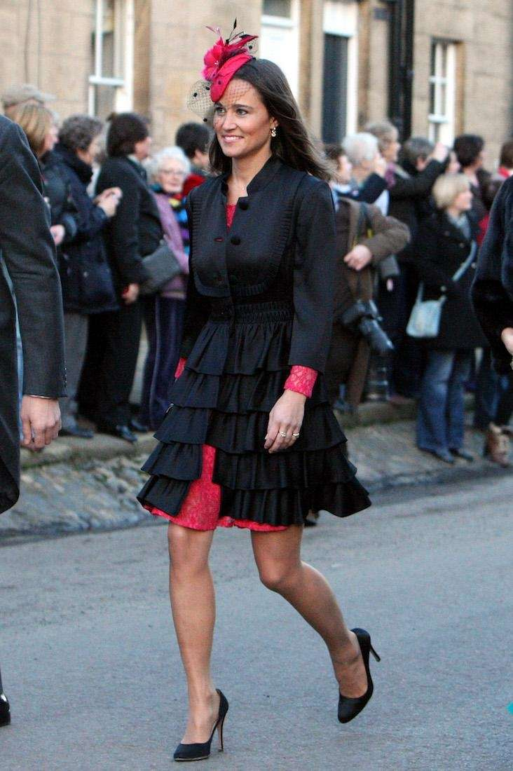 Pippa Middleton arrives at the wedding of the