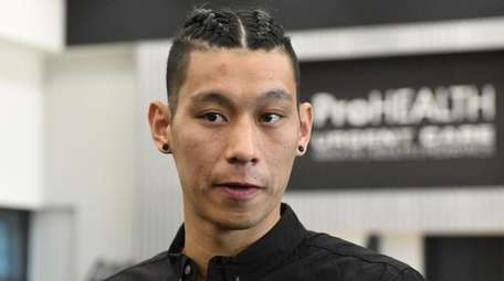 Brooklyn Nets point guard Jeremy Lin is introduced