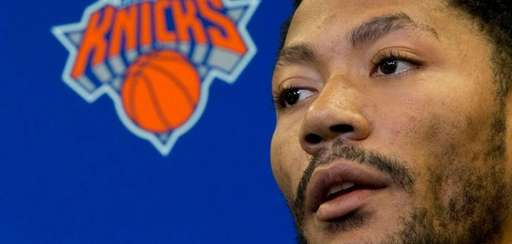 Derrick Rose speaks during an introductory news conference