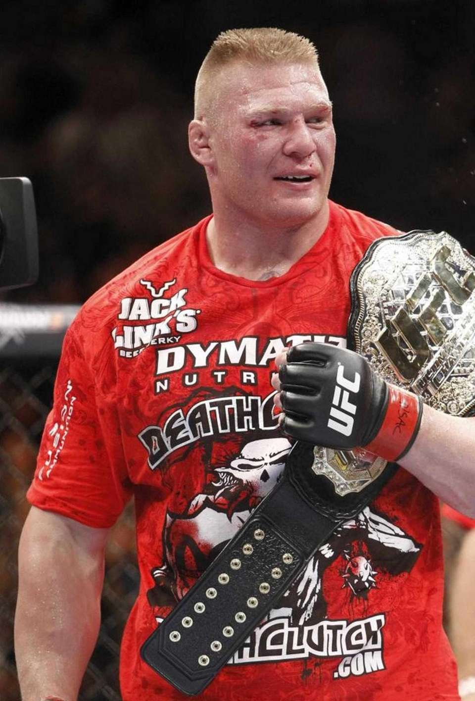 Brock Lesnar celebrates his second round victory over