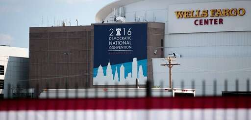 Democratic National Convention signage is displayed outside the