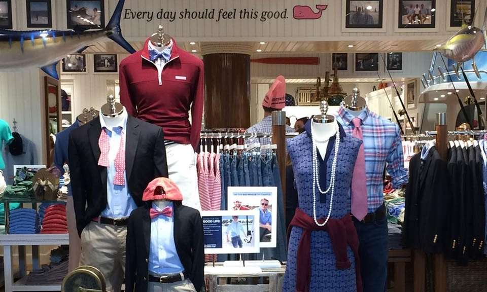 Vineyard Vines, a clothing retailer featuring a smiling