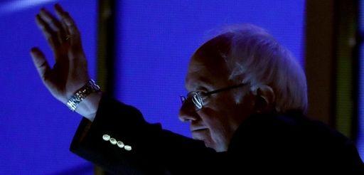 Sen. Bernie Sanders stands on stage prior to