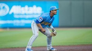 Myrtle Beach Pelicans shortstop Gleyber Torres on defense