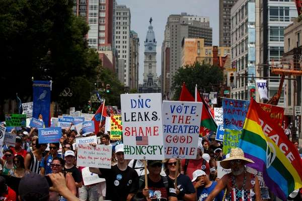 People march protecting the DNC email wikileaks scandal