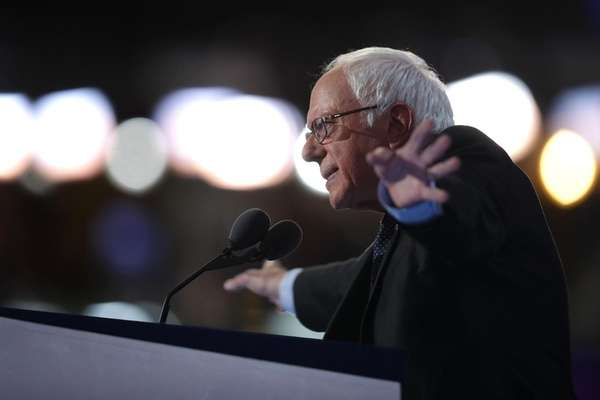 Sen. Bernie Sanders delivers remarks on the first
