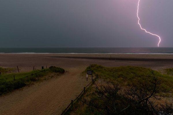 Lightning strike during late afternoon storm storm taken