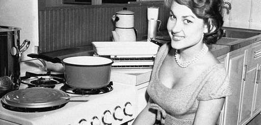 French screen actress Pascale Robert wears patterned oven